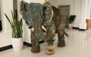 This sculpture is made entirely of snares traps sculpture elephant 320x202