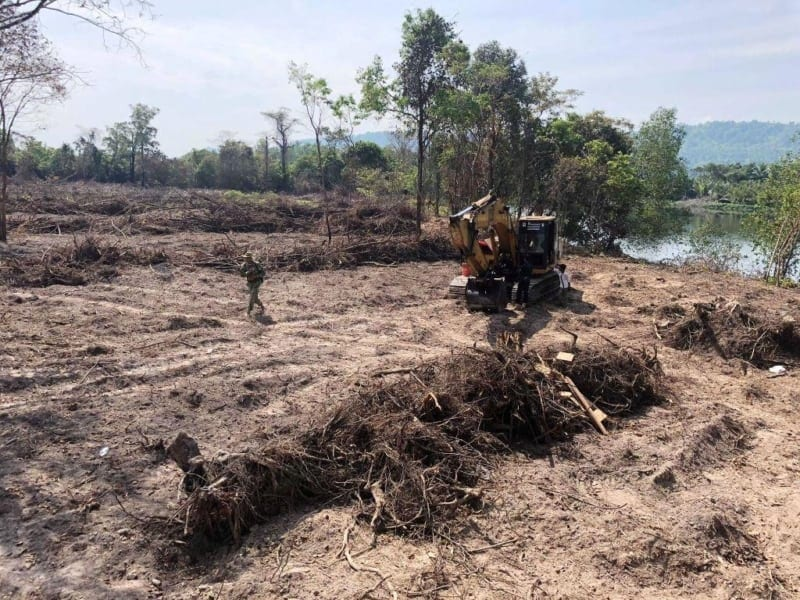 forest destroyed 8 hectares of forest destroyed! One excavator confiscated and 2 people in prison Escavator used in forest destruction 800x600
