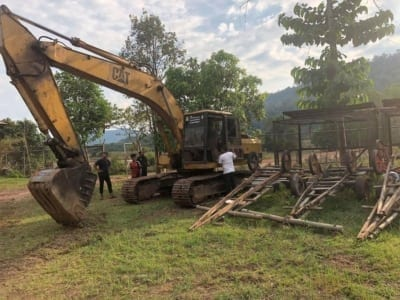 forest destroyed 8 hectares of forest destroyed! One excavator confiscated and 2 people in prison Excavator confiscated Cambodia 400x300