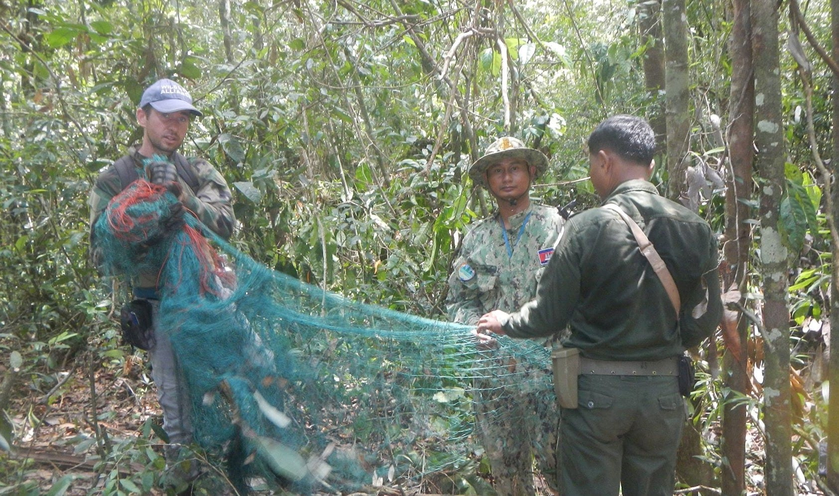 the rangers found four hunting camps The rangers found four hunting camps animal trap net found in hunter camp
