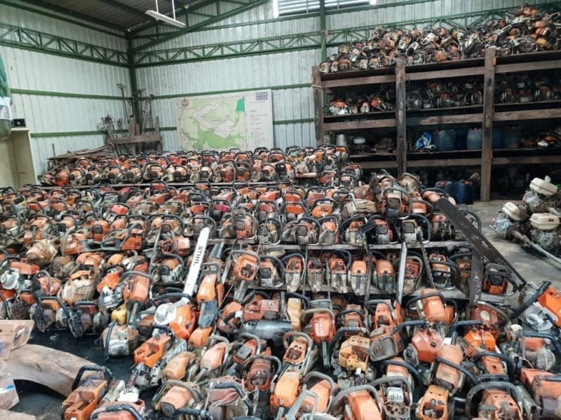 just one chainsaw can create massive amounts of damage to the forest Just one chainsaw can create massive amounts of damage to the forest Wildlife Alliance chainsaws confiscated 800x600