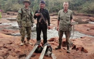 gibbon station long patrol Gibbon Station rangers' deep wilderness patrol illegal chainsaws in Cambodia 320x202 newsletter Newsletter illegal chainsaws in Cambodia 320x202
